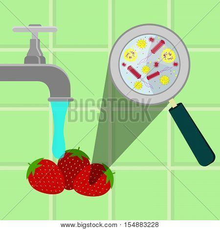 Washing Contaminated Strawberries