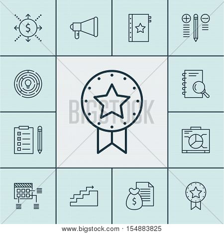 Set Of Project Management Icons On Money, Report And Announcement Topics. Editable Vector Illustrati