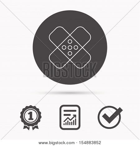 Medical plaster icon. Injury fix sign. Report document, winner award and tick. Round circle button with icon. Vector
