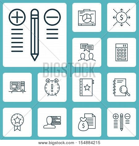 Set Of Project Management Icons On Discussion, Money And Investment Topics. Editable Vector Illustra