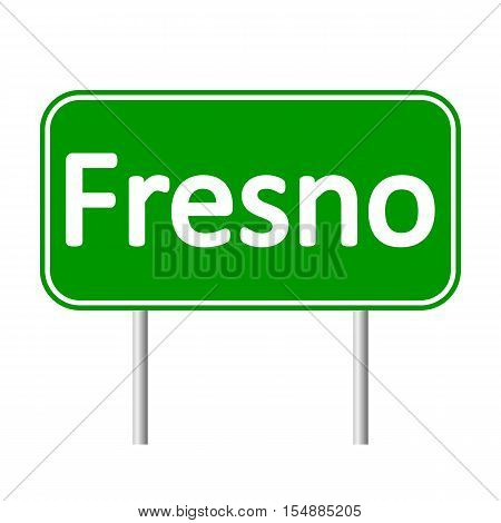 Fresno green road sign isolated on white background