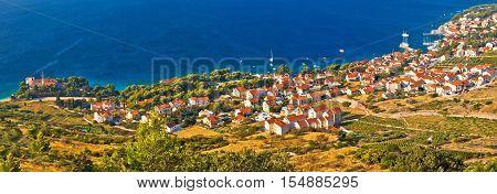 Bol on Brac island panoramic aerial view, dalmatia, croatia