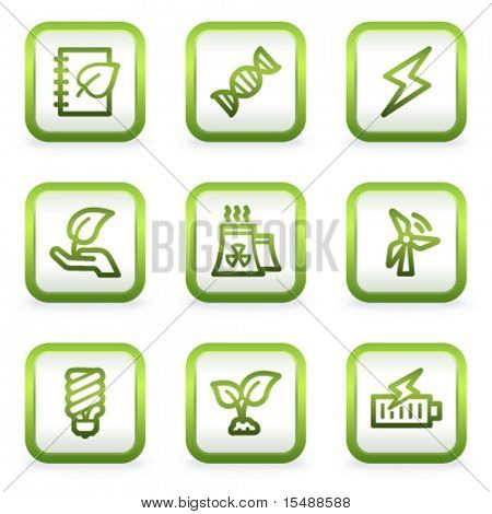 Eco web icons set 5, square buttons, green contour