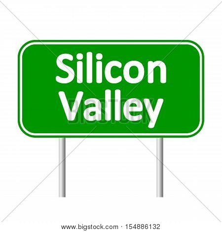 Silicon Valley green road sign isolated on white background