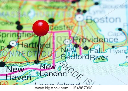 New London pinned on a map of Connecticut, USA