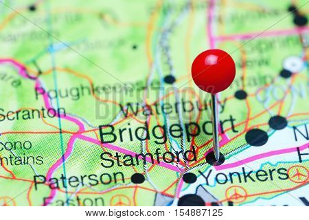 Stamford pinned on a map of Connecticut, USA