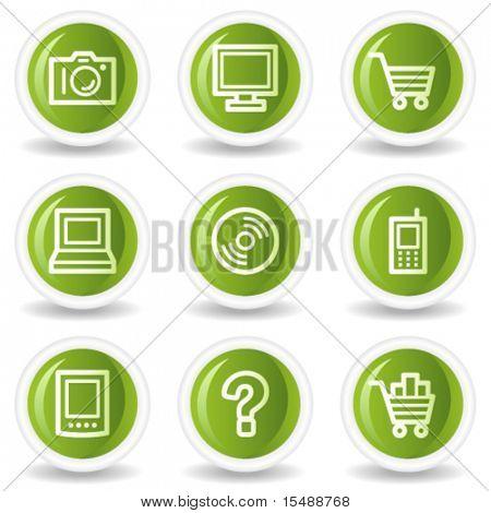 Electronics web icons set 1, green circle buttons