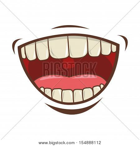 cartoon mouth with teeths with happy expression over white background. vector illustration