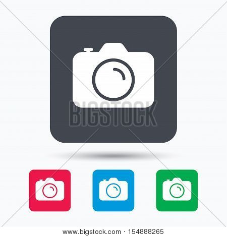 Camera icon. Professional photocamera symbol. Colored square buttons with flat web icon. Vector