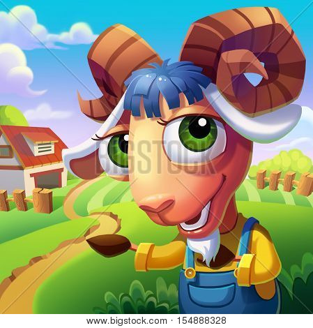 The Sheep with Convoluted Horns Welcome You to His Farm! Video Game's Digital CG Artwork, Concept Illustration, Realistic Cartoon Style Background and Character Design