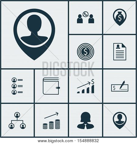 Set Of Management Icons On Female Application, Coins Growth And Bank Payment Topics. Editable Vector