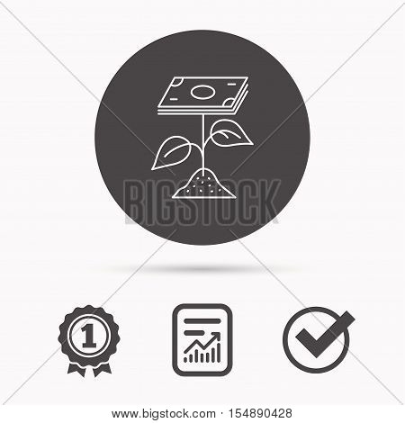 Profit icon. Money savings sign. Flower with cash money symbol. Report document, winner award and tick. Round circle button with icon. Vector