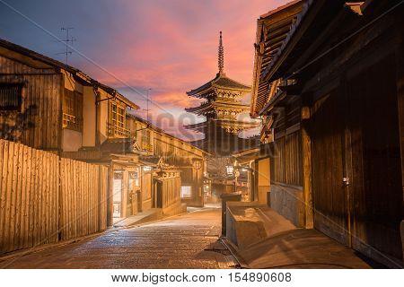 Yasaka Pagoda and Sannen Zaka Street in the Nigth, Kyoto, Japan
