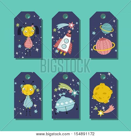 Blue price tag with space cartoons. Cute aliens characters, rocket, flying saucer, planet Saturn, Moon, stars and comet vector illustrations isolated on turquoise background. For kids clothing labels
