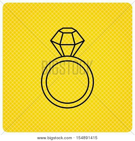 Ring with diamond icon. Jewellery sign. Linear icon on orange background. Vector