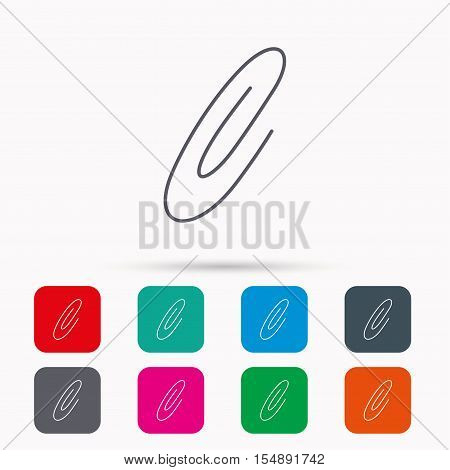 Safety pin icon. Paperclip sign. Linear icons in squares on white background. Flat web symbols. Vector