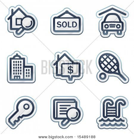 Real estate web icons, deep blue contour sticker series