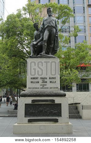 MELBOURNE, AUSTRALIA - JANUARY 24, 2016: The Burke and Wills monument in Melbourne. It was Melbourne's first public monument and commemorates the Victorian Exploring Expedition of 1860-61