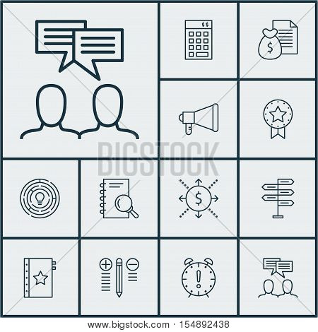 Set Of Project Management Icons On Discussion, Analysis And Announcement Topics. Editable Vector Ill