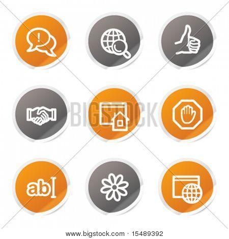 Internet web icons set 1, orange and grey stickers