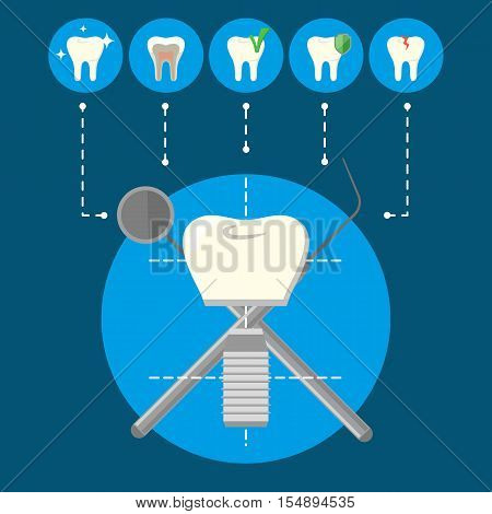 Round teeth icons and tooth implant with crosswise instruments on blue background. Dentistry isolated vector illustration. Healthcare and tooth care. Health tooth and dental implant concept
