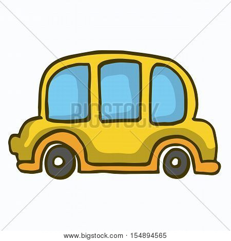 Yellow car cute vector illustration for kids
