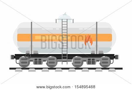 Railway tank for transportation of liquid and loose freights isolated on white background vector illustration. Side view freight container. Cargo train on railroad. Rail carriage in flat design