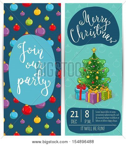 Wrapped gifts near decorated toys Christmas tree. Merry Christmas and Happy New Year greetings. Template of christmas party invitation. Design for christmas party invintation. Christmas concept. Ad for christmas party. Merry Christmas