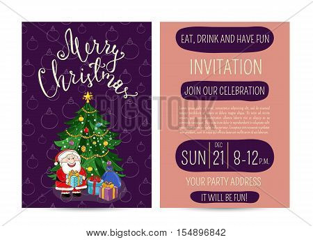 Cute Santa, wrapped gifts, decorated toys christmas tree. Merry Christmas and Happy New Year greetings. Template of christmas party invitation. Design for christmas party invintation. Christmas concept. Ad for christmas party. Merry Christmas