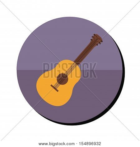 purple button with guitar musical instrument icon inside over white background. vector illustration
