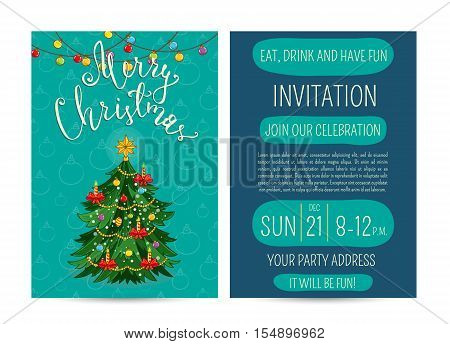 Beautifully decorated with toys, garlands, candles Christmas. Merry Christmas and Happy New Year greetings. Template of christmas party invitation. Design for christmas party invintation. Christmas concept. Ad for christmas party. Merry Christmas
