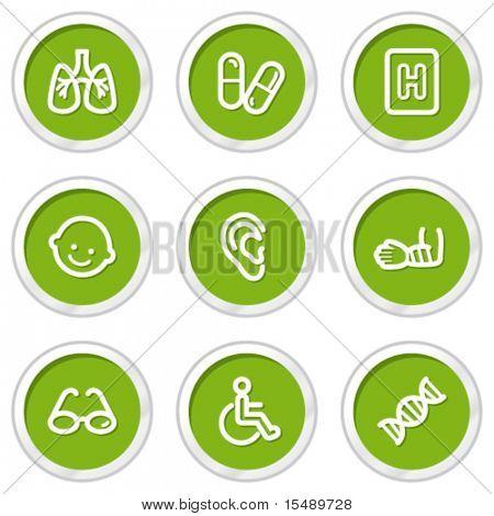 Medicine web icons set 2, green circle buttons