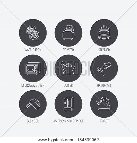 Microwave oven, teapot and blender icons. Refrigerator fridge, juicer and toaster linear signs. Hair dryer, steamer and waffle-iron icons. Linear icons in circle buttons. Flat web symbols. Vector