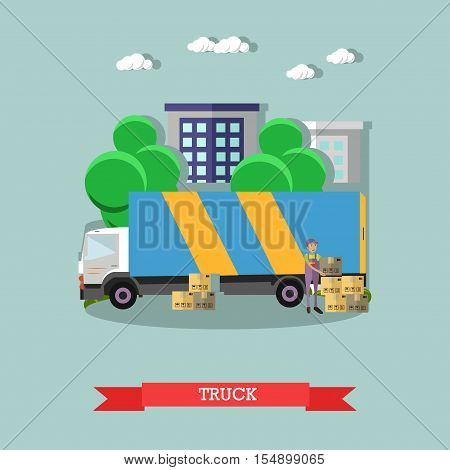 Delivery truck vector poster in flat style. Logistic and delivery service concept banner. Warehouse and truck shipping.