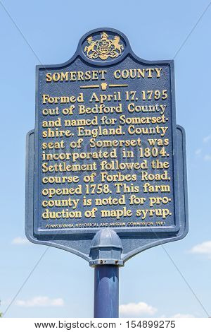 Somerset country Pennsylvania USA- May 19 2014. Street sign information of Somerset city.