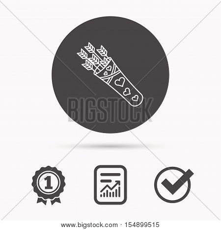 Cupid arrows icon. Love weapon sign. Report document, winner award and tick. Round circle button with icon. Vector