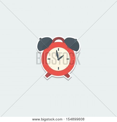 School symbol - alarm clock. School education, wake up time, planning and time control colorful single icon. Basic element for web isolated on white background vector illustration in flat design.