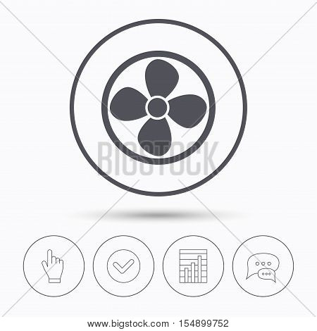 Ventilation icon. Air ventilator or fan symbol. Chat speech bubbles. Check tick, report chart and hand click. Linear icons. Vector