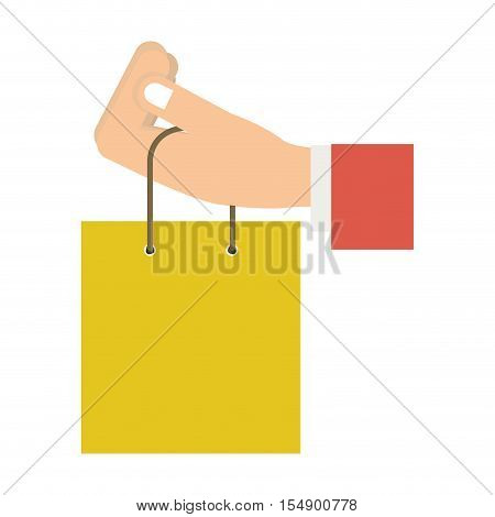 human hand holding a shopping bag icon over white background. colorful design. vector illustration
