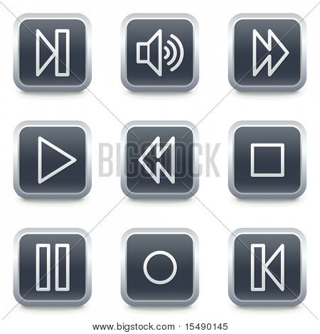Walkman web icons, grey square buttons poster