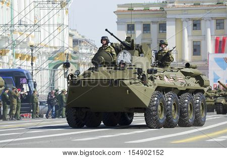 SAINT PETERSBURG, RUSSIA - MAY 05, 2015: The BTR-82A on the March. Rehearsal of parade in honor of Victory Day on Palace square