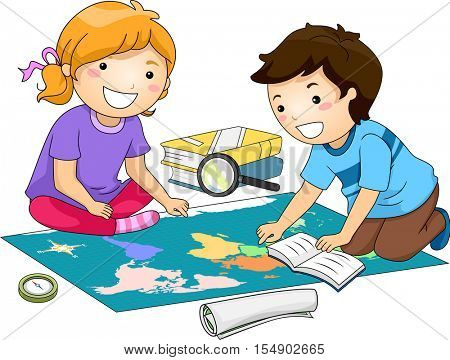 Illustration of Preschool Kids Examining a Large Map While Studying Geography