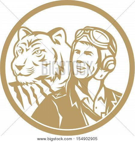 Illustration of a world war two pilot airman aviator and tiger looking to the side set inside circle done in gold retro style.