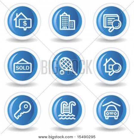 Immobilien Web Icons, blau glänzende Kreis buttons