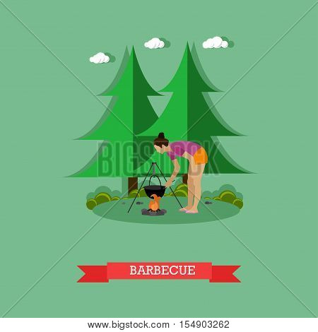 Woman cooking on campfire in forest - stock vector.