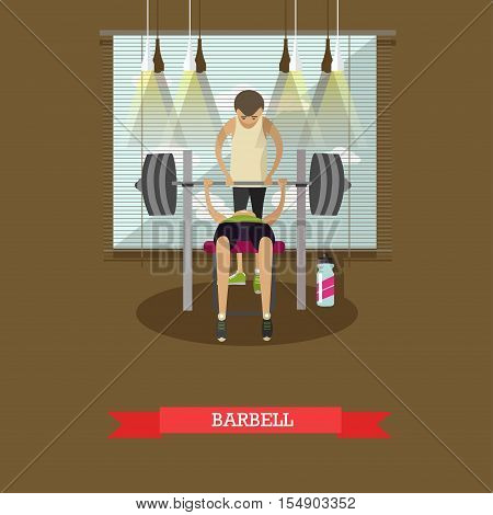Bench press using a barbell. Man working out in a gym. Healthy lifestyle concept vector illustration in flat style. Fitness and sport equipment.
