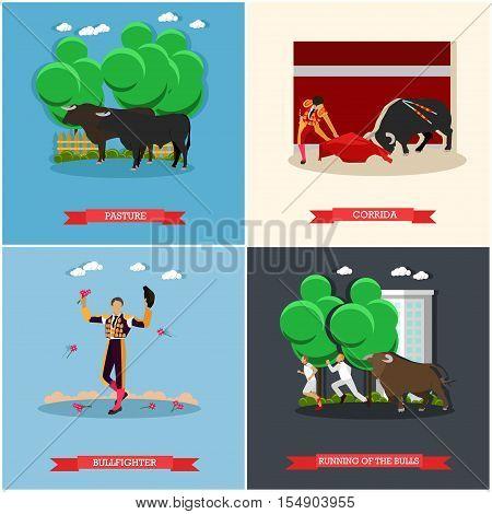 Spain Corrida and Running of the Bulls concept vector illustration. Bull and a matador.