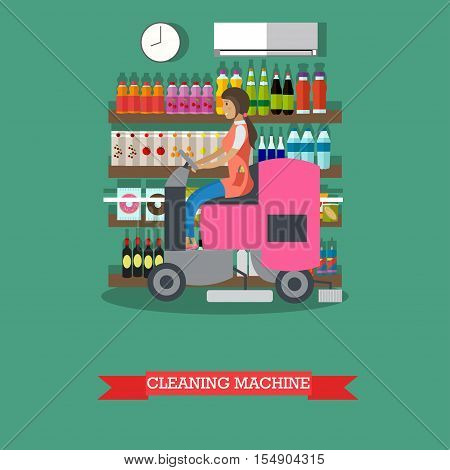 Woman use cleaning machine to clean floor in grocery store. Floor care and cleaning service in supermarket shop.