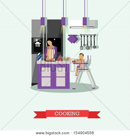 Mother cooking and babysitting her kid. Kitchen interior vector illustration in flat style.