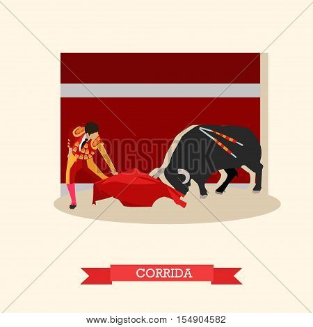Spain Corrida concept vector illustration. Bull and a matador.
